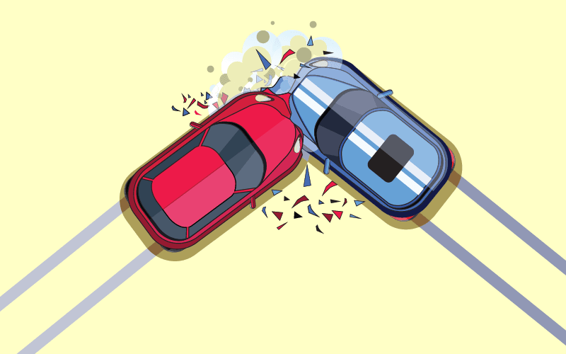Car accident red and blue