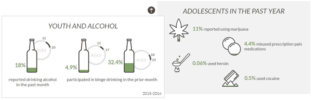 graph showing percent of adolescent drug and alcohol use in the past year